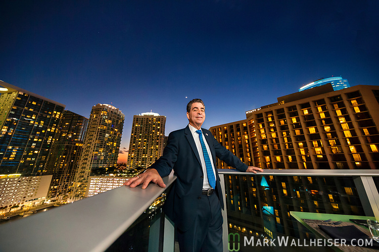 Overlooking downtown Miami,  incoming Florida Bar president Michael Higer in Miami, Florida.