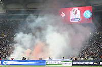smoke bombs and firecrackers thrown onto the pitch by Napoli's fans, prior to the Italy Cup final soccer match between ACF Fiorentina and SSC Napoli at the Olimpico stadium in Rome, Italy, 03 May 2014