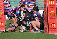 Kia Toa's Marilyn Live scores during the 2019 Manawatu premier women's club rugby Prue Christie Cup final match between Feilding Old Boys Oroua and Kia Toa at CET Arena in Palmerston North, New Zealand on Saturday, 13 July 2019. Photo: Dave Lintott / lintottphoto.co.nz