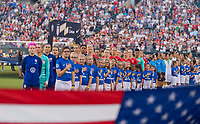 PHILADELPHIA, PA - AUGUST 29: The USWNT stands for anthems prior to a game between Portugal and the USWNT at Lincoln Financial Field on August 29, 2019 in Philadelphia, PA.
