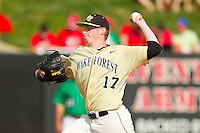 Wake Forest Demon Deacons relief pitcher John McLeod #17 in action against the North Carolina State Wolfpack at Doak Field at Dail Park on March 17, 2012 in Raleigh, North Carolina.  The Wolfpack defeated the Demon Deacons 6-2.  (Brian Westerholt/Four Seam Images)