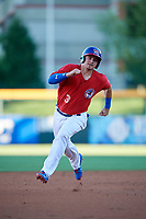 Buffalo Bisons catcher Reese McGuire (3) running the bases during a game against the Syracuse Chiefs on July 6, 2018 at Coca-Cola Field in Buffalo, New York.  Buffalo defeated Syracuse 6-4.  (Mike Janes/Four Seam Images)