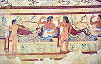 """Underground Etruscan tomb Known as """"Tomb of the Leopard A single chamber with double sloping ceiling decorated with a painted chequered design. In the tympanuim are painted two leopards below which is a banquet sceneOn the back wall is painted a banquet scene in honour of the dead. Circa 470 BC. Excavated 1857, Etruscan Necropolis of Monterozzi, Monte del Calvario, Tarquinia, Italy. A UNESCO World Heritage Site."""