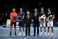 Jack Sock, Mike Bryan, Pierre-Hughes Herbert and Nicolas Mahut posing with their trophies with Hideo Takasaki and Chris Kermode <br /> <br /> Photographer Hannah Fountain/CameraSport<br /> <br /> International Tennis - Nitto ATP World Tour Finals Day 8 - O2 Arena - London - Sunday 18th November 2018<br /> <br /> World Copyright &copy; 2018 CameraSport. All rights reserved. 43 Linden Ave. Countesthorpe. Leicester. England. LE8 5PG - Tel: +44 (0) 116 277 4147 - admin@camerasport.com - www.camerasport.com