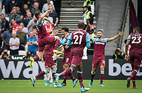 Celebrations after Andriy Yarmolenko of West Ham Utd goal during the Premier League match between West Ham United and Manchester United at the Olympic Park, London, England on 22 September 2019. Photo by Andy Rowland / PRiME Media Images.