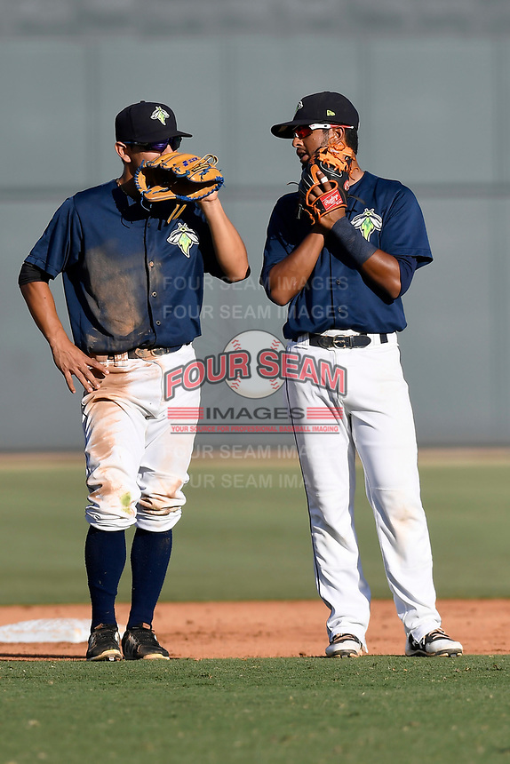 Shortstop Andres Gimenez (13) of the Columbia Fireflies talks with Luis Carpio (11) during a pitching change at a game against the Augusta GreenJackets on Sunday, July 30, 2017, at Spirit Communications Park in Columbia, South Carolina. Augusta won, 6-0. (Tom Priddy/Four Seam Images)