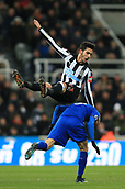 9th December 2017, St James Park, Newcastle upon Tyne, England; EPL Premier League football, Newcastle United versus Leicester City; Mikel Merino of Newcastle United gets a lift on Jamie Vardy of Leicester City back after a header