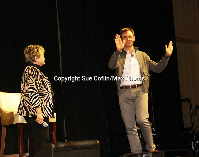 General Hospital's actor James Patrick Stuart with host Joyce Becker on October 5, 2019 at the Hollywood Casino, Columbus, Ohio with a Q & A and a VIP meet and greet. (Photo by Sue Coflin/Max Photo)