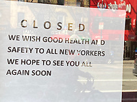 New York, New York City, in the time of Coronavirus. Closed business sign.