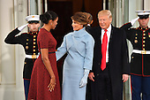 First Lady Michelle Obama (L) greets United States President-elect Donald Trump and wife Melania to the White House before the inauguration on January 20, 2017 in Washington, D.C.  Trump becomes the 45th President of the United States.    <br /> Credit: Kevin Dietsch / Pool via CNP
