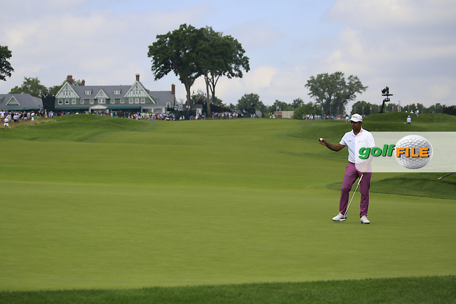 Anirban Lahiri (IND) on the 10th green during Friday's Round 1 of the 2016 U.S. Open Championship held at Oakmont Country Club, Oakmont, Pittsburgh, Pennsylvania, United States of America. 17th June 2016.<br /> Picture: Eoin Clarke | Golffile<br /> <br /> <br /> All photos usage must carry mandatory copyright credit (&copy; Golffile | Eoin Clarke)