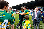 Maurice Fitzgerald and Anthony Maher at the Munster Senior Football Final at Fitzgerald Stadium on Sunday.