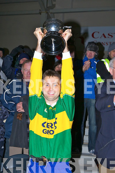 St Marys Captain Gearoid O'Driscoll lifts the cup afterdefeating Buree the Munster Club final in Mallow on Sunday