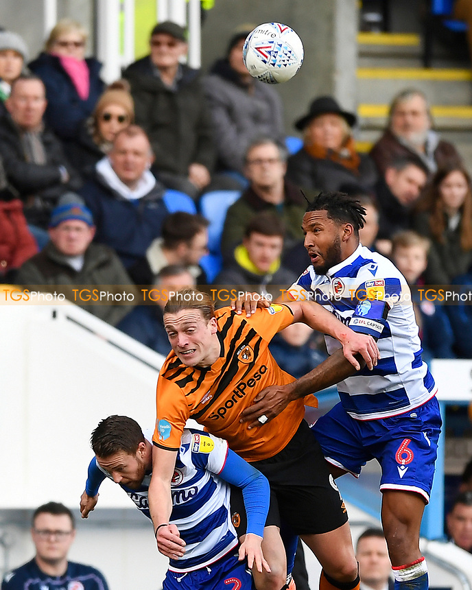 Liam Moore of Reading right wins a header from Tom Eaves of Hull City during Reading vs Hull City, Sky Bet EFL Championship Football at the Madejski Stadium on 8th February 2020