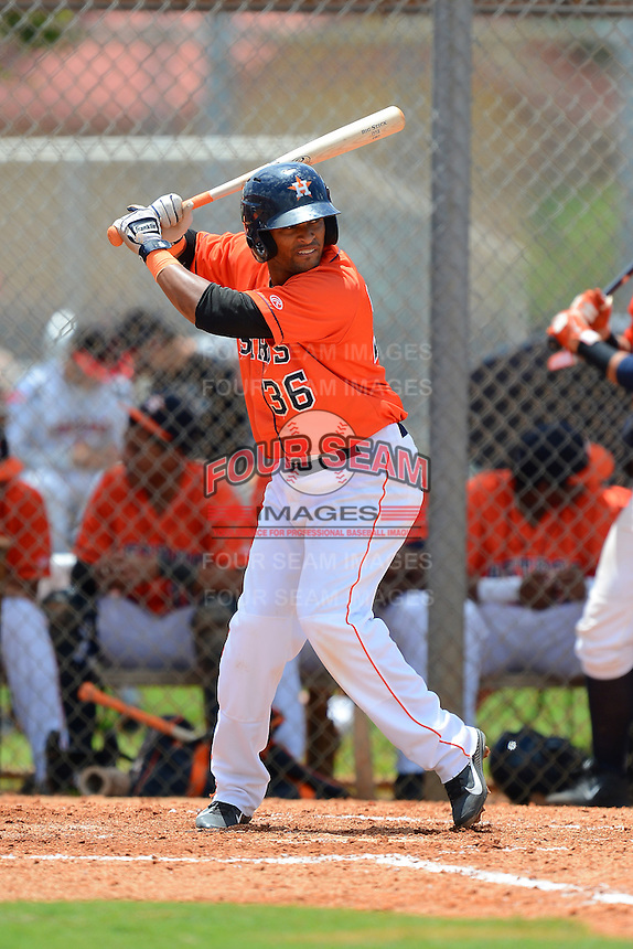 GCL Astros third baseman Alex Gonzalez (36) during a game against the GCL Pirates on July 16, 2013 at Osceola County Complex in Kissimmee, Florida.  GCL Pirates defeated the GCL Astros 6-3.  (Mike Janes/Four Seam Images)