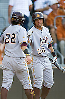 Arizona State Sun Devil third baseman Riccio Torrez #30 greets teammate Andrew Alpin #22 at home against the Texas Longhorns in NCAA Tournament Super Regional baseball on June 10, 2011 at Disch Falk Field in Austin, Texas. (Photo by Andrew Woolley / Four Seam Images)