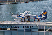 A view of a Vancouver Harbour Air Seaplane.
