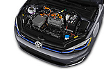 Car stock 2017 Volkswagen E-Golf SE 5 Door Hatchback engine high angle detail view