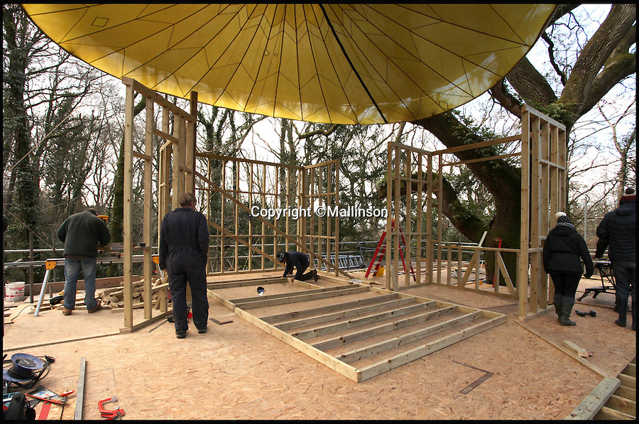 BNPS.co.uk (01202 558833)<br /> Pic: Mallinson/BNPS<br /> <br /> Work in progress...<br /> <br /> Release your inner Tarzan...in Britain's poshest treehouse.<br /> <br /> A luxury glamping site in deepest Dorset has created a luxurious treehouse that comes with its own sauna, hot tub, rotating fireplace and pizza oven.<br /> <br /> The Woodsman's Treehouse is perched 30ft from the ground on long stilts and has two floors. <br /> <br /> It has a spiral staircase and a stainless steel slide for quick access to the ground and can be rented out from £390 a night. <br /> <br /> It is located at the Crafty Camping glamping site at Holditch in west Dorset.