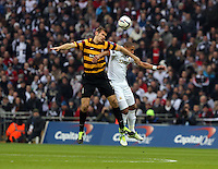 Pictured: (L-R) James Hanson and Ashley Williams. Sunday 24 February 2013<br /> Re: Capital One Cup football final, Swansea v Bradford at the Wembley Stadium in London.