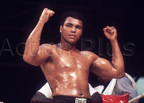 24.05.1976 Muhammad Ali (USA) - salutes another win agains Richard Dunne in the  WBC and WBA world heavyweight championship . Muhammad Ali died on June 3rd 2016 of a respiratory complication in a Phoenix hospital.