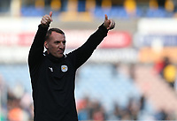 Leicester City manager Brendan Rogers applauds the fans at the final whistle <br /> <br /> Photographer Stephen White/CameraSport<br /> <br /> The Premier League - Huddersfield Town v Leicester City - Saturday 6th April 2019 - John Smith's Stadium - Huddersfield<br /> <br /> World Copyright © 2019 CameraSport. All rights reserved. 43 Linden Ave. Countesthorpe. Leicester. England. LE8 5PG - Tel: +44 (0) 116 277 4147 - admin@camerasport.com - www.camerasport.com