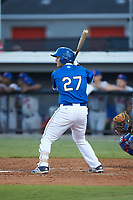 Chris Hudgins (27) of the Burlington Royals at bat against the Kingsport Mets at Burlington Athletic Stadium on July 27, 2018 in Burlington, North Carolina. The Mets defeated the Royals 8-0.  (Brian Westerholt/Four Seam Images)