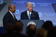 January 17, 2013  (Washington, DC)  Vice President Joseph Biden addresses the 81st Annual Winter Meeting of the U.S. Conference of Mayors   (Photo by Don Baxter/Media Images International)