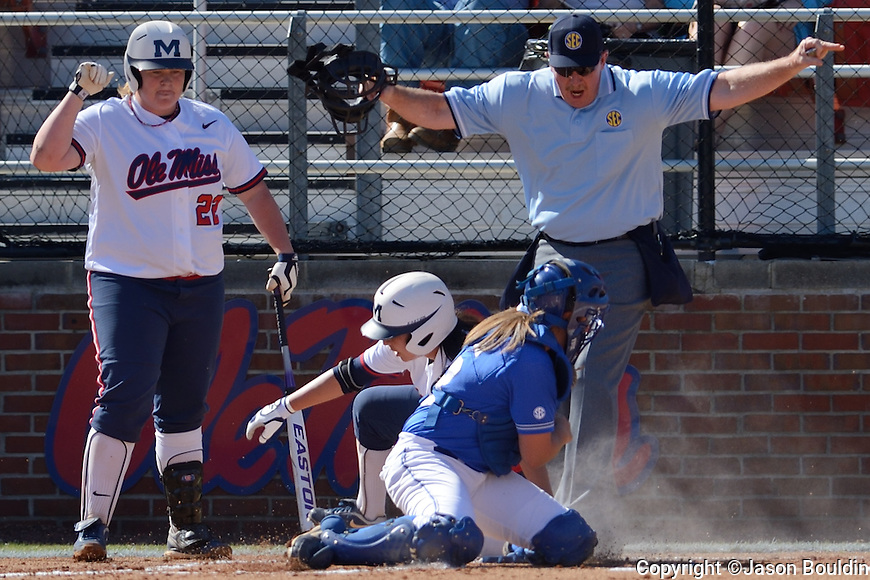 R.T. Cantillo scores on an inside-the-park home run. Ole Miss Softball, Rebels vs. Kentucky.  Photo by UM Photographer Kevin Bain