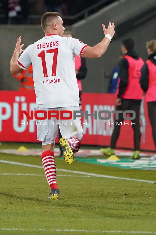 08.02.2019, RheinEnergieStadion, Koeln, GER, 2. FBL, 1.FC Koeln vs. FC St. Pauli,<br />  <br /> DFL regulations prohibit any use of photographs as image sequences and/or quasi-video<br /> <br /> im Bild / picture shows: <br /> Christian Clemens (FC Koeln #17),     freut sich &uuml;ber das 2:1<br /> <br /> Foto &copy; nordphoto / Meuter