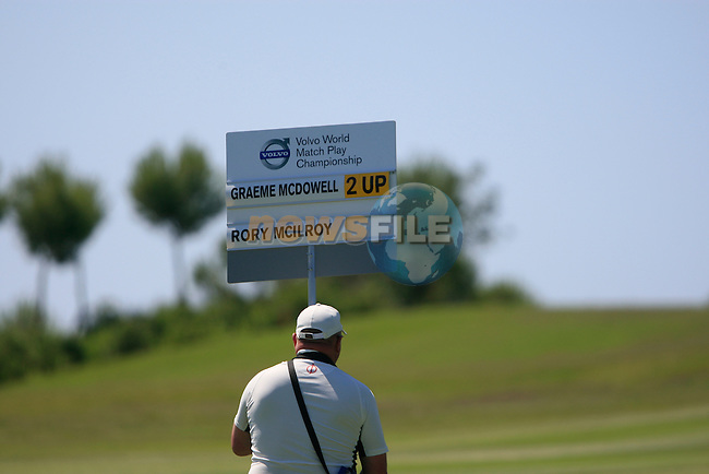 The score on the 15th hole during the morning session on Day 3 of the Volvo World Match Play Championship in Finca Cortesin, Casares, Spain, 21st May 2011. (Photo Eoin Clarke/Golffile 2011)