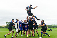 Paul Grant of Bath Rugby wins the ball at a lineout. Bath Rugby pre-season training session on July 28, 2017 at Farleigh House in Bath, England. Photo by: Patrick Khachfe / Onside Images