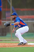 GCL Mets first baseman Carlos Sanchez (21) waits for a throw during a game against the GCL Marlins on August 12, 2016 at St. Lucie Sports Complex in St. Lucie, Florida.  GCL Marlins defeated GCL Mets 8-1.  (Mike Janes/Four Seam Images)