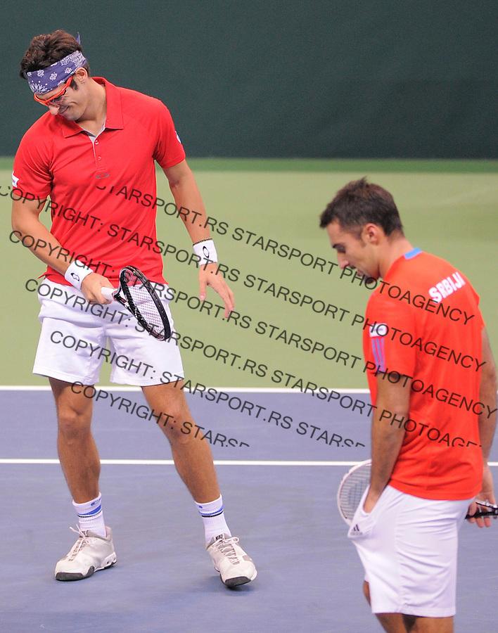 Tennis Tenis<br /> Davis Cup Final 2013<br /> Serbia v Czech Republic<br /> Nenad Zimonjic and Ilija Bozoljac v Radek Stepanek and Tomas Berdych<br /> Nenad Zimonjic and Ilija Bozoljac reacts<br /> Beograd, 16.11.2013.<br /> foto: Srdjan Stevanovic/Starsportphoto &copy;