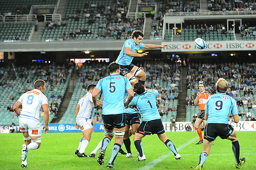 17.03.2012 Sydney, Australia. Waratahs lock Dave Dennis wins the lineout  during the FxPro Super Rugby game between the New South Wales Waratahs  and Western Force at the Allianz Stadium,Sydney..