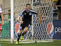 March 10th, 2013: Adam Jahn celebrates his first goal during a game against Red Bulls at Buck Shaw Stadium, Santa Clara, Ca.   Earthquakes defeated Red Bulls 2-1