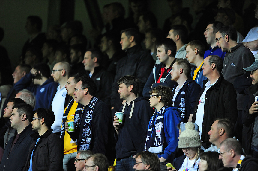Preston North End fans during the second half<br /> <br /> Photographer Chris Vaughan/CameraSport<br /> <br /> Football - The Football League Sky Bet League One - Notts County v Preston North End - Tuesday 21st April 2015 - Meadow Lane - Nottingham<br /> <br /> &copy; CameraSport - 43 Linden Ave. Countesthorpe. Leicester. England. LE8 5PG - Tel: +44 (0) 116 277 4147 - admin@camerasport.com - www.camerasport.com