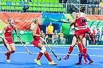 Melissa Gonzalez #5 of United States leaps for joy onto Lauren Crandall #27 of United States after scoring from a penalty corner during USA vs Japan in a Pool B game at the Rio 2016 Olympics at the Olympic Hockey Centre in Rio de Janeiro, Brazil.