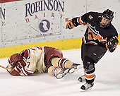 Patrick Mullen covers up after scoring, Max Cousins - The Princeton University Tigers defeated the University of Denver Pioneers 4-1 in their first game of the Denver Cup on Friday, December 30, 2005 at Magness Arena in Denver, CO.