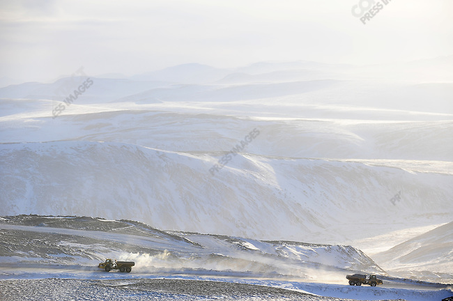 At the Kupol gold mine in Chukotka operated by the Canadian company Kinross, heavy trucks went back and forth from the northern open pit. Russian Far East, February 9, 2011