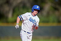 South Dakota State Jackrabbits left fielder Jamie Berg (24) running the bases during a game against the Northeastern Huskies on February 23, 2019 at North Charlotte Regional Park in Port Charlotte, Florida.  Northeastern defeated South Dakota State 12-9.  (Mike Janes/Four Seam Images)