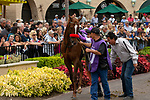 DEL MAR, CA  SEPTEMBER 3: #10 Bizwhacks, ridden by Mario Gutierrez, gets a leg up from assistant trainer Leandro Mora, in the paddock of the Del Mar Juvenile Fillies Turf on September 3, 2018, at Del Mar Thoroughbred Club in Del Mar, CA. (Photo by Casey Phillips/Eclipse Sportswire/Getty Images)