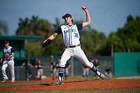 Lasell Lasers relief pitcher Benjamin Allen (38) delivers a pitch during the first game of a doubleheader against the Edgewood Eagles on March 14, 2016 at Terry Park in Fort Myers, Florida.  Edgewood defeated Lasell 9-7.  (Mike Janes/Four Seam Images)