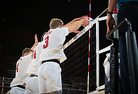 STANFORD, CA - January 5, 2019: Eric Beatty, Kyler Presho, Paul Bischoff at Maples Pavilion. The Stanford Cardinal defeated UC Santa Cruz 25-11, 25-17, 25-15.