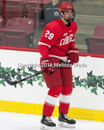 Alec McCrea (Cornell - 29) - The Harvard University Crimson defeated the visiting Cornell University Big Red on Saturday, November 5, 2016, at the Bright-Landry Hockey Center in Boston, Massachusetts.