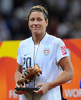 Abby Wambach of team USA reacts during the FIFA Women's World Cup Final USA against Japan at the FIFA Stadium in Frankfurt, Germany on July 17th, 2011.
