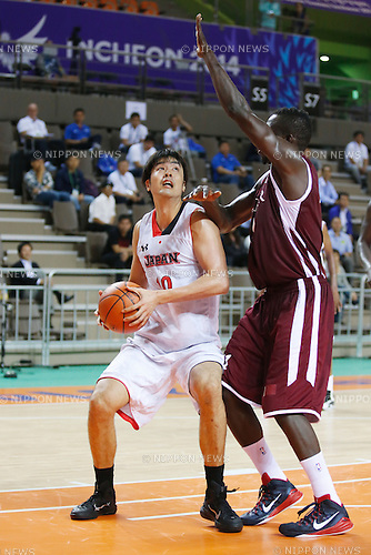 Kosuke Takeuchi (JPN), <br /> SEPTEMBER 25, 2014 - Basketball : <br /> Men's Preliminary <br /> between Japan 71-72 Qatar <br /> at Samsan World Gymnasium <br /> during the 2014 Incheon Asian Games in Incheon, South Korea. <br /> (Photo by AFLO SPORT)