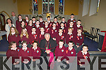 """Pupils from Glenderry NS Ballyheigue, who were confirmed on Wednesday in St Mary's Church, Ballyheigue by the Bishop of Kerry Bill Murphy. Front l-r: Rachel Stack, Shauna Dineen-Higgins, Elaine Murphy, Bill Murphy Bishop of Kerry, Sea?n Griffin, Sean casey and Christopher Murphy. 2""""nd row l-r: Ciarda Supple, Lauryn Moore, Conor Galway-Reidy, Thomas Healy, Wesley Mask, Vinie Casey and Luke Linnane. 3rd Row l-r: Mrs Mary Griffin(teacher), Meadbh Keane, Aoife Carling, Amy Lucio, Gerard Carroll, Brendan Walsh, Cormac Slattery, Joshua Flaherty and Kevin Mask. Back l-r: Gerard Pierce(principal),Ciara Reidy, Darren Quirke, Sophie Barrett, Sea?n Patterson, Shane Halloran, Jay Stack-Griffin and Rory McNamara. ................ . ............................... .........."""