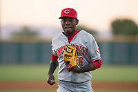 AZL Reds second baseman Danielito Remy (6) jogs off the field between innings of an Arizona League game against the AZL Cubs 2 at Sloan Park on June 18, 2018 in Mesa, Arizona. AZL Cubs 2 defeated the AZL Reds 4-3. (Zachary Lucy/Four Seam Images)