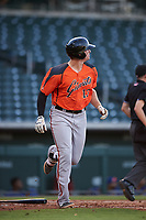 AZL Giants Orange Connor Cannon (13) hits a home run during an Arizona League game against the AZL Cubs 1 on July 10, 2019 at Sloan Park in Mesa, Arizona. The AZL Giants Orange defeated the AZL Cubs 1 13-8. (Zachary Lucy/Four Seam Images)